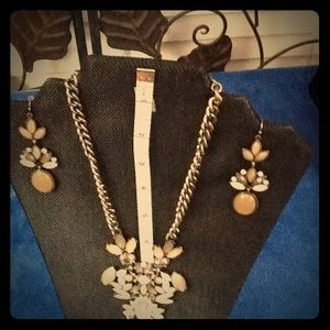 Shades of Beige Necklace & Earrings Set